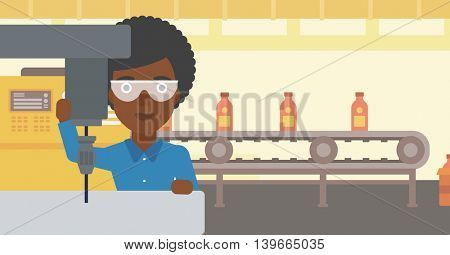 African-american woman working on milling machine at workshop. Woman using milling machine at factory. Woman making a hole using a milling machine. Vector flat design illustration. Horizontal layout.