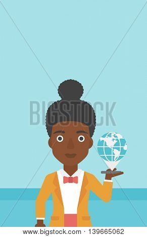 An african-american woman holding a smartphone with a model of planet earth above the device. International technology communication concept. Vector flat design illustration. Vertical layout.