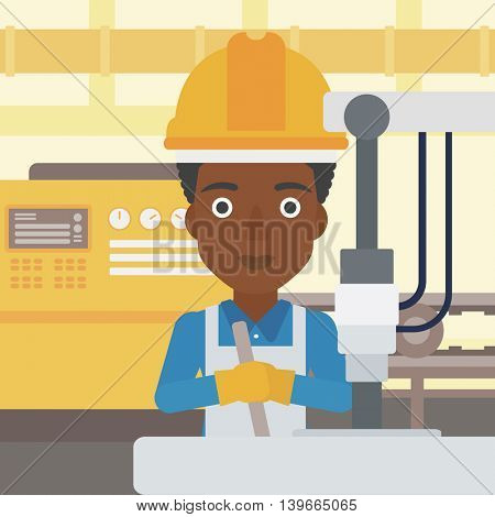 An african-american woman working on industrial drilling machine. Woman using drilling machine at manufactory. Metalworker drilling at workplace. Vector flat design illustration. Square layout.