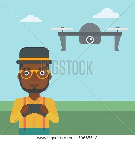 An african-american man flying drone with remote control. Man operating a drone with remote control. Man controling a drone. Vector flat design illustration. Square layout.