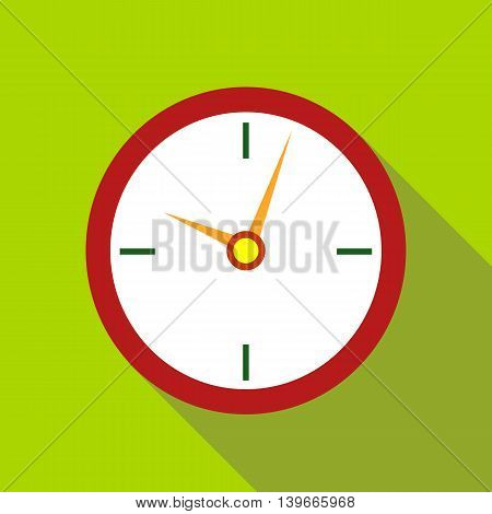 Wall clock icon in flat style with long shadow. Time symbol