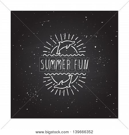 Hand-sketched summer element with dolphin and sun on blackboard background. Text - Summer fun