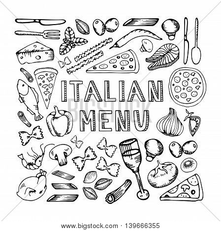 Restaurant cafe italian menu. Illustration of vintage typographical element for italian menu on chalkboard. Sketch