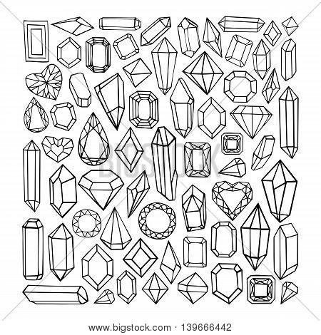 Hand drawn modern set of crystals, precious stones, diamonds. Trendy hipster elements for labels, logos, badges design.