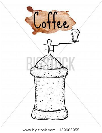 Coffee grinder sketch. The inscription of coffee on watercolor background. Vector illustration