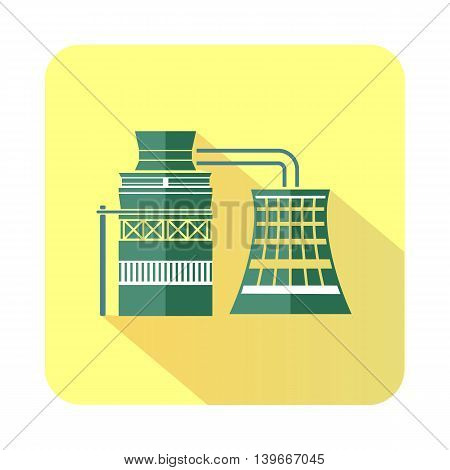 Processing of raw materials icon in flat style with long shadow. Chemistry symbol