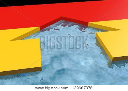 home icon in the water textured by Germany flag. 3D rendering