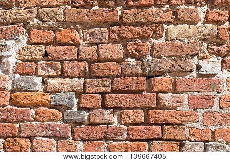 Old brick wall. Red brick wall texture. Texture of old brickwork.