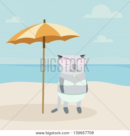 Vector Illustration of a Cat Character on a Sunny Beach