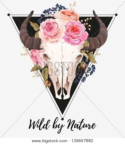 Vector illustration of buffalo skull decorated with flowers and berries