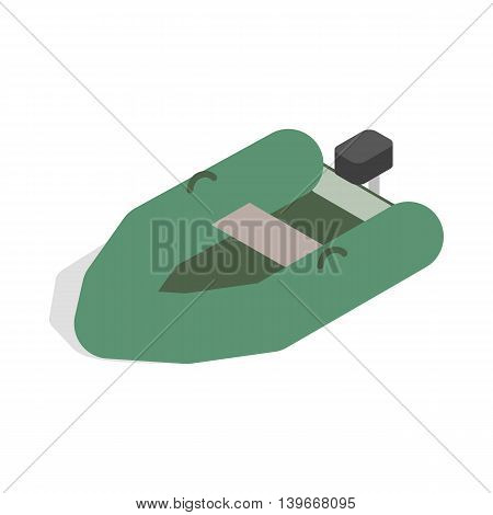 Inflatable boat icon in isometric 3d style isolated on white background. Maritime transport symbol