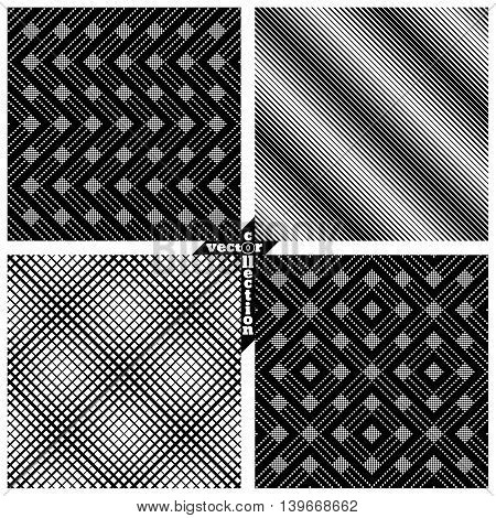 Set of vector seamless pattern. Abstract monochrome backgrounds. Modern stylish textures. Regularly repeating geometrical shapes zigzag line grid diamond. Vector element of graphical design