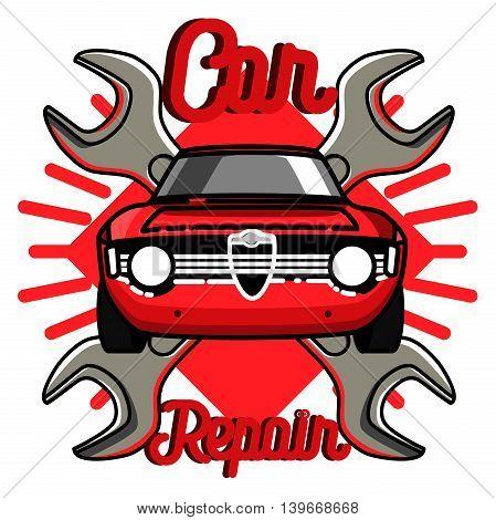 Color vintage Car repair emblem. Service off road suv car, transport service car, badge service automobile illustration