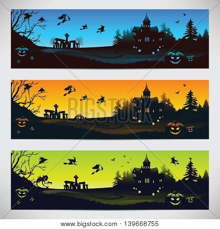Original backgrounds for Halloween day. Set of three horizontal banners. Vector illustration.