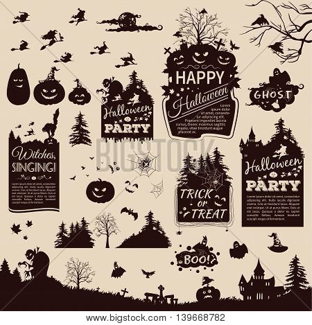 Set of cartoon silhouettes and banners for Halloween day. Set of labels for Halloween. Labels in retro style silhouette of a witch, raven, pumpkin, vampire, castle, forest, cat. Vector illustration.