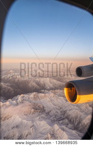 Beautiful View From The Aircraft To The Mountains In Tashkent, China And Kirgistan