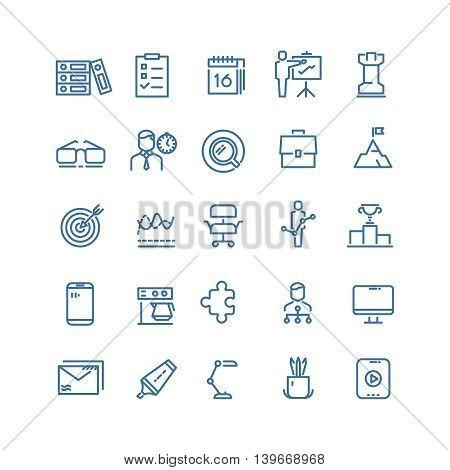 Productivity and time management linear signs, work schedule and business planning vector thin line icons