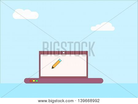illustration which depicts clouds and a pencil on the PC screen