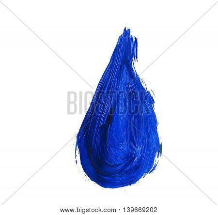 Blue acrylic drop isolated on white background. Element for different design