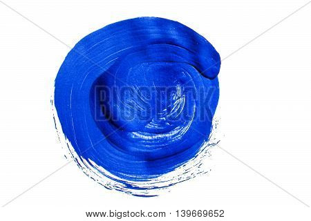 Blue acrylic circle isolated on white background. Element for different design
