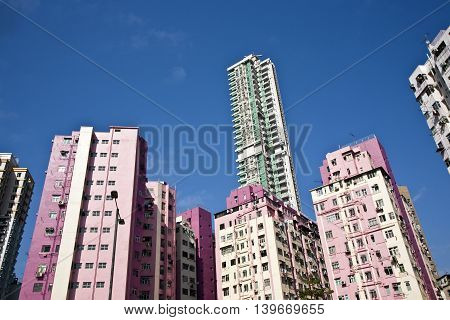 Facade Of Houses Downtown Kowloon With Appartments And Air Condition