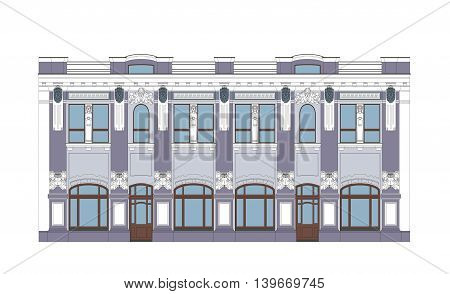 Vector Flat Illustration of an XIX Century Building