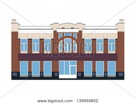 Vector Flat Illustration of an Old Building from XIX Cetury