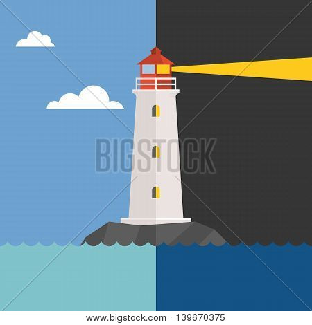 Vector lighthouse in day and night, flat design