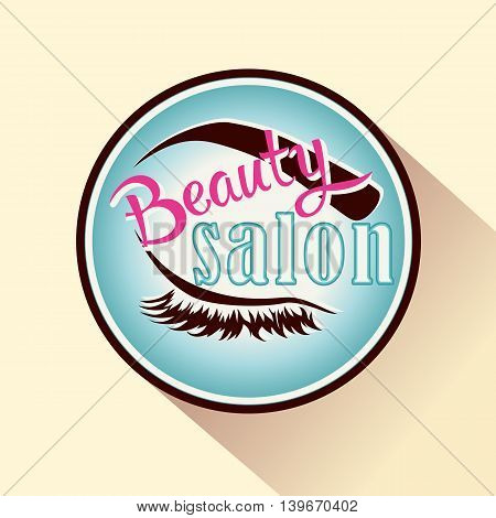 Beauty salon icon or logo. Vector female badge with closed eye.