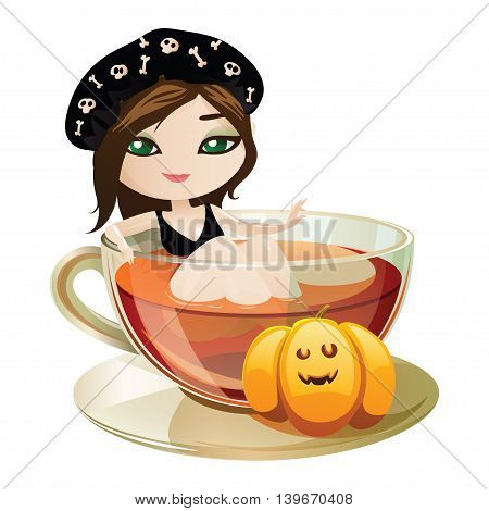 Cute witch in pin-up style takes a bath. Witch isolated on white background. Beautiful character for Halloween in cartoon style. Vector illustration.