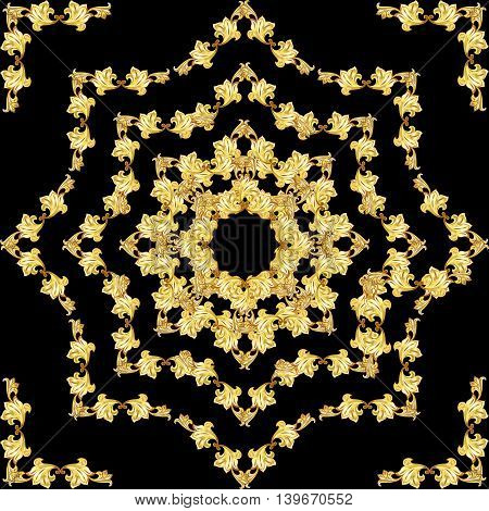 Golden nature pattern on the black background