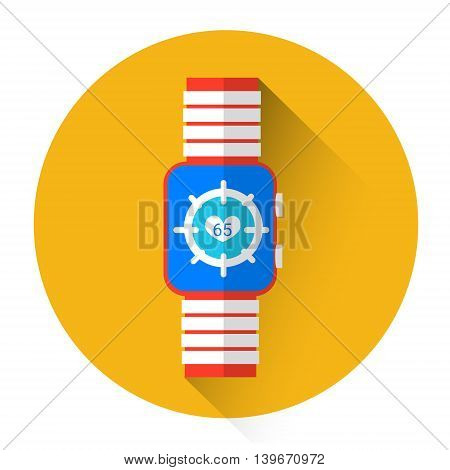 Smart Watch Heart Pulse Monitor Icon Flat Vector Illustration