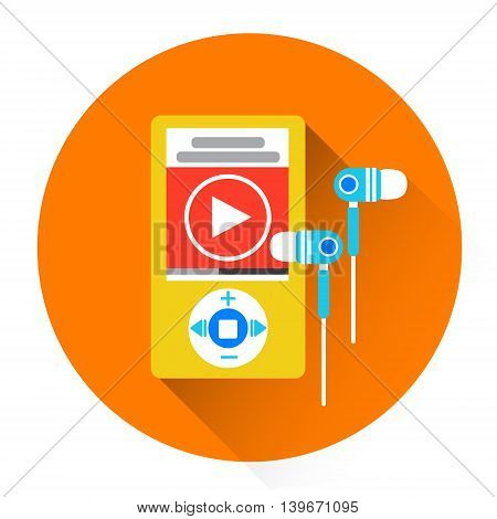 Music MP3 Player With Headphones Icon Flat Vector Illustration