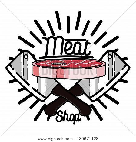 Color vintage meat store emblem, label, logo. Shop, design food, butcher badge vector illustration