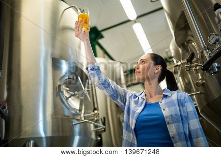 Attentive female brewer testing beer at brewery