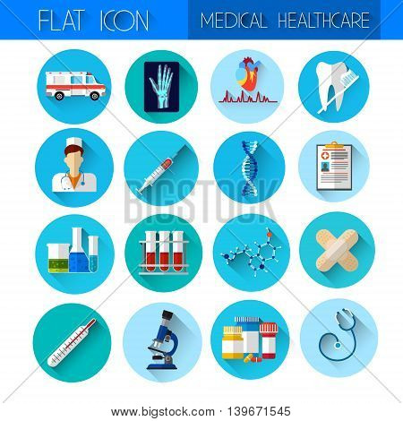Set Medicine Icon Medical, Chemical Equipment Collection Flat Vector Illustration