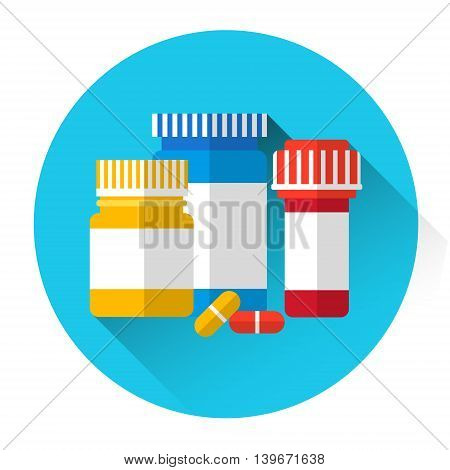 Pills Bottles Medicine Icon Flat Vector Illustration