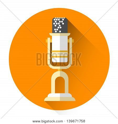Microphone Icon Audio Sound Recorder Mic Flat Vector Illustration
