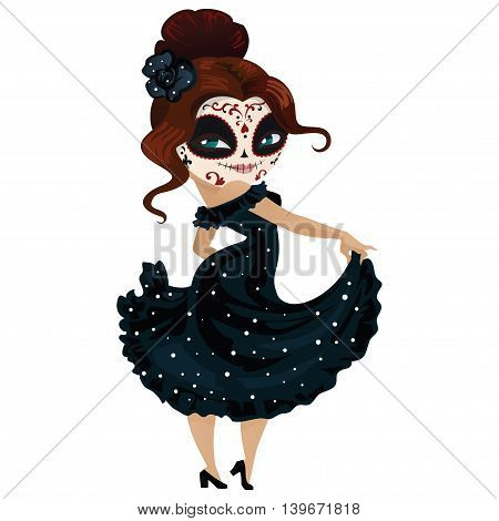 Girl dancer on carnival cartoon character. Cute cartoon character for your design.