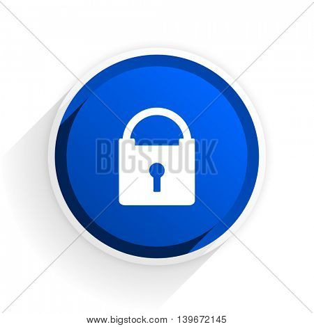 padlock flat icon with shadow on white background, blue modern design web element