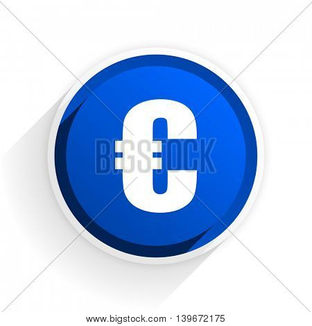 euro flat icon with shadow on white background, blue modern design web element