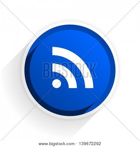 rss flat icon with shadow on white background, blue modern design web element