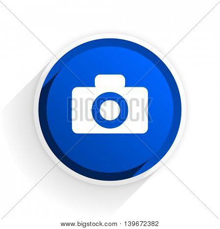 camera flat icon with shadow on white background, blue modern design web element