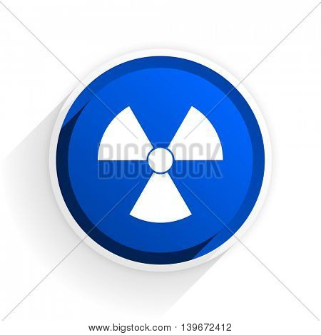 radiation flat icon with shadow on white background, blue modern design web element