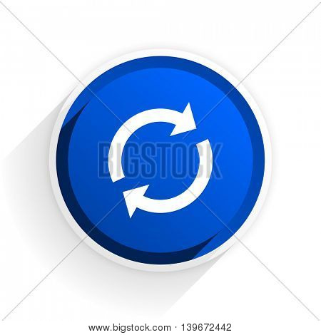 reload flat icon with shadow on white background, blue modern design web element