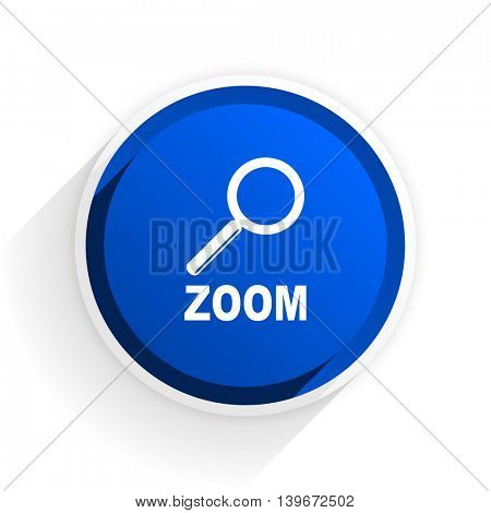 zoom flat icon with shadow on white background, blue modern design web element