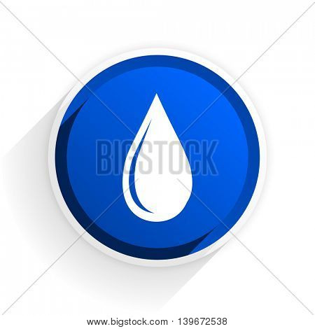 water drop flat icon with shadow on white background, blue modern design web element