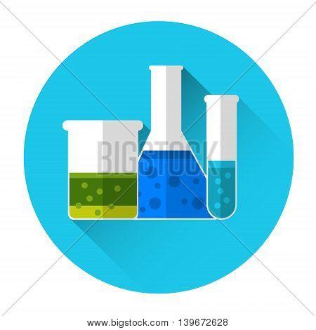 Test Tubes Flask Set Medicine Icon Flat Vector Illustration