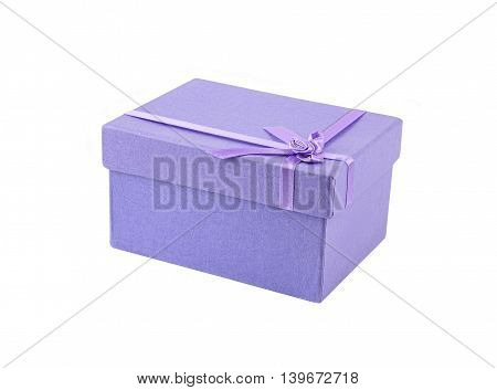 Lilac gift box isolated on white background