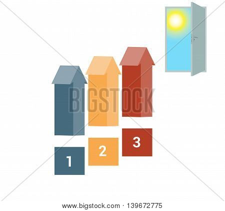 Template for Infografics Three Number Options Arrows in the form of Ladder Upwards Doorway Sky Sun.